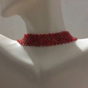 Red Woven Beaded Choker Necklace